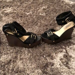 Black & Gold Guess Wedge Suede And Leather
